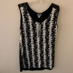 DKNY Tank Top Faux Leather Back Black Ivory XS NWT